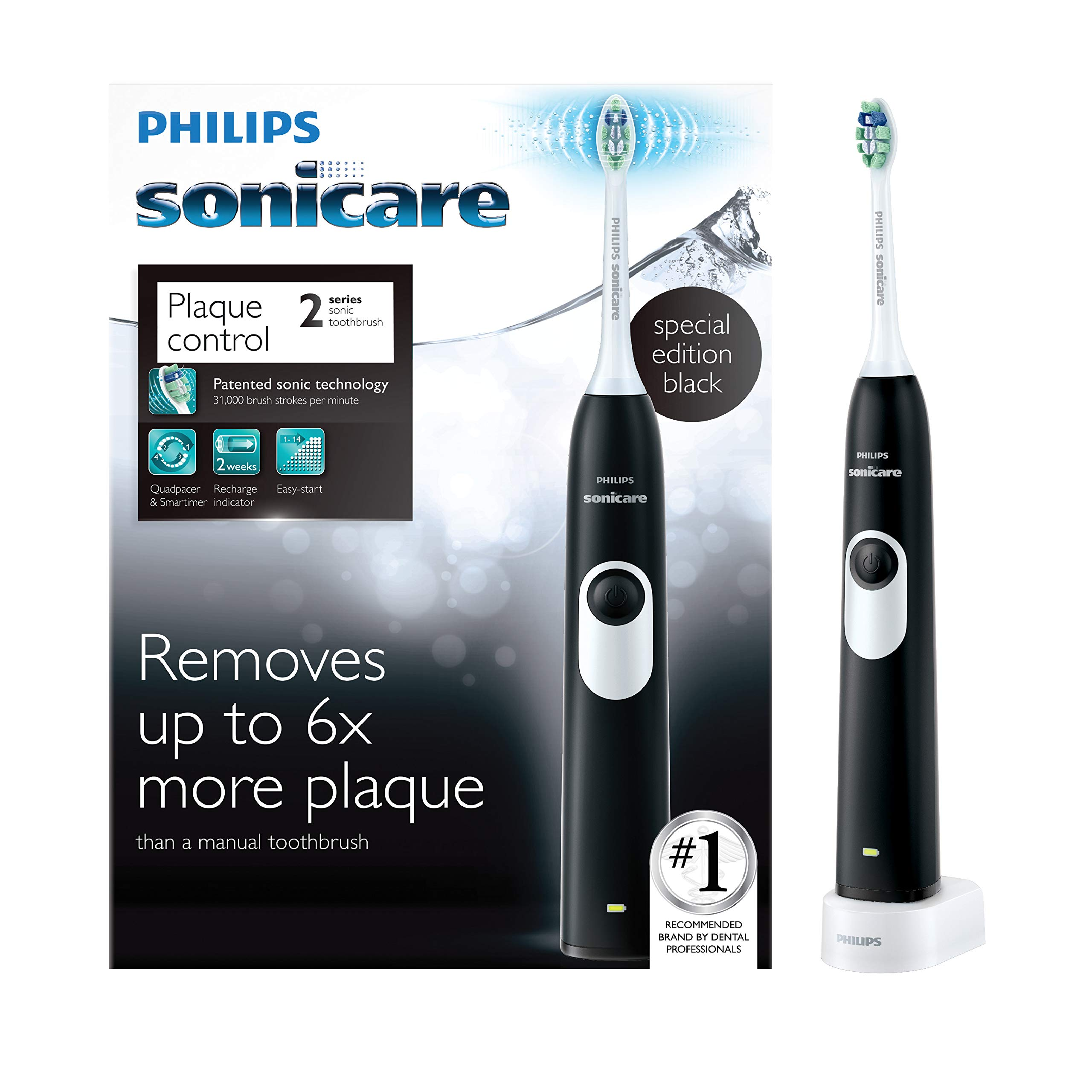Philips Sonicare 2 Series plaque control rechargeable electric toothbrush, Black, HX6211 by Philips Sonicare