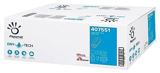 Papernet 407551 Drytech Toallas Dobladas Z, Celulosa Pura, 2 Capas, 130 Hojas,