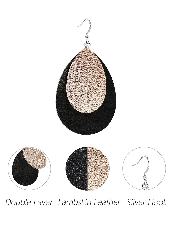 Missaqua Genuine Leather Earrings for Women Layer Metallic Leather Leaf Drop Earrings