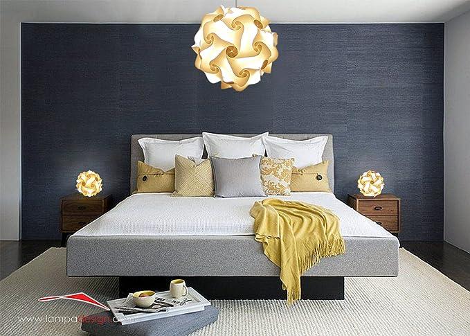 LAMPADARIO Sospensione design moderno camera da letto sfera FIOCCO 35 cm e  2 Lampade comodini da tavolo terra scrivania comò mobile Luce relax ...