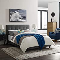Modway MOD-5851-GRY Amira Twin Upholstered Velvet Bed