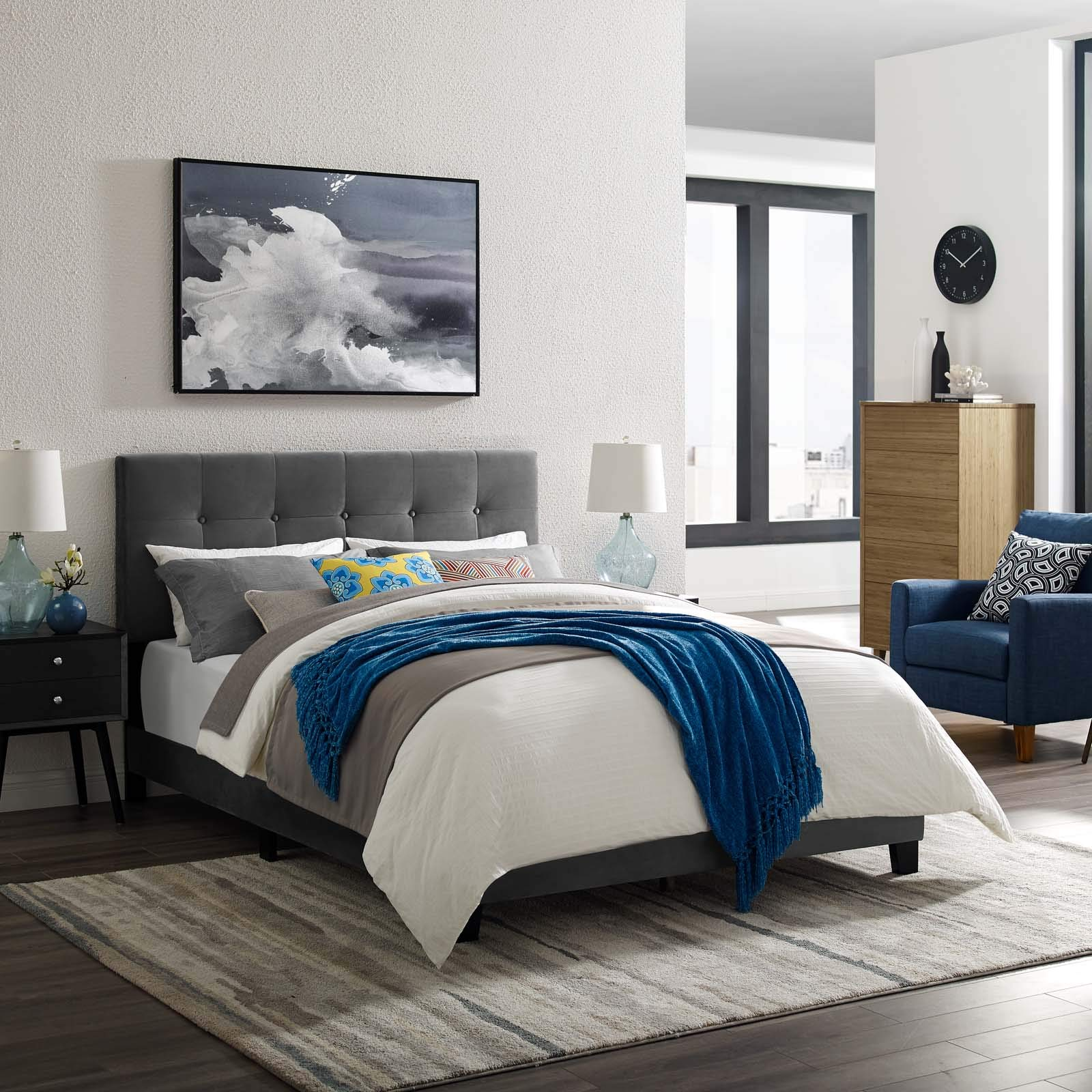 Modway Amira Full Upholstered Velvet Bed, Gray by Modway