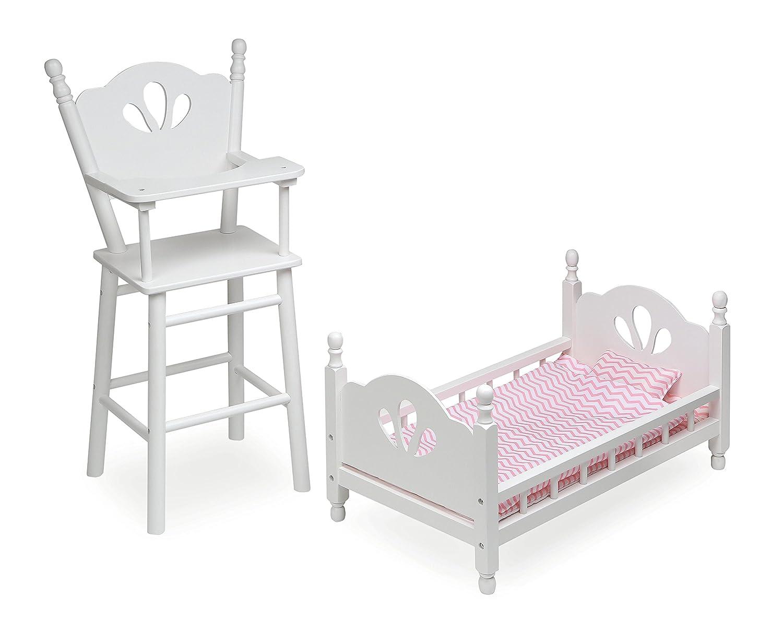 バッジャーバスケット ハイチェアとベッドセット ドール家具 ホワイト/ピンク   B07D7P6KS1
