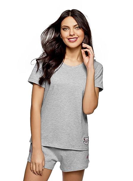 oodji Ultra Mujer Camiseta de Estar por Casa con Decoración, Gris, ES 36 /