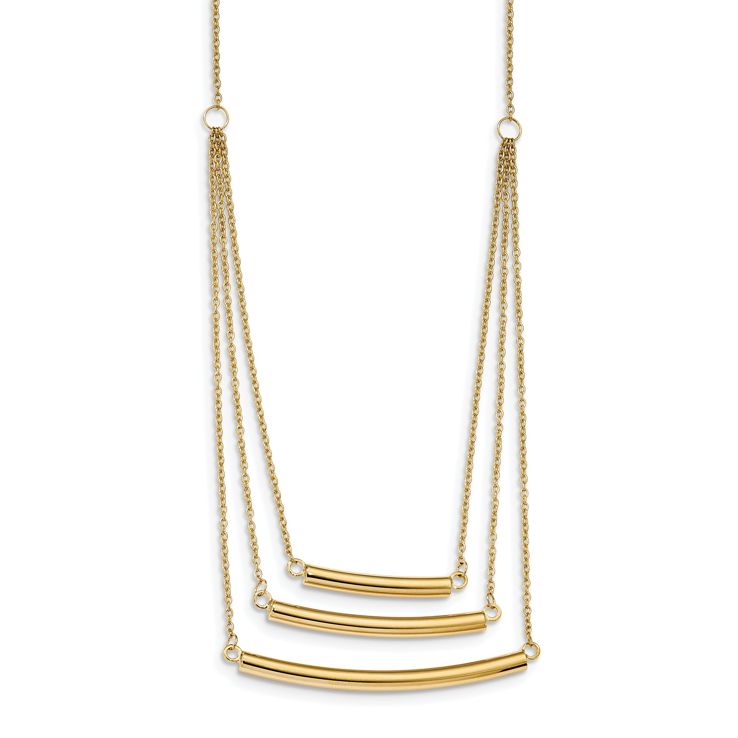 ICE CARATS 14k Yellow Gold 3 Strand Bar Chain Necklace Multi-str Fancy Fine Jewelry Gift Set For Women Heart