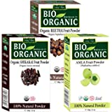 Indus Valley Organic Amla, Shikakai and Reetha Powder for Hair and Skin Care - Pack of 3