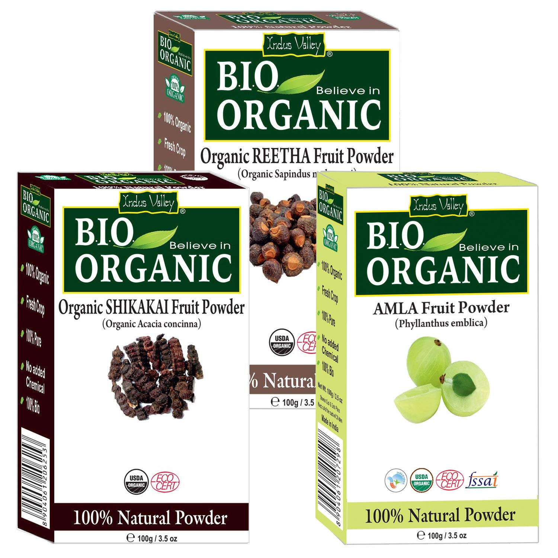 Indus Valley 100% Organic Hair And Skin Care Combo - 3 Pack Amla, Shikakai & Reetha Powder For Hair Conditioning