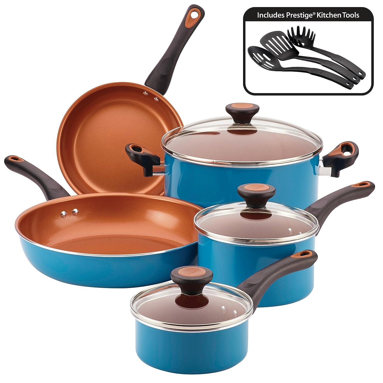 Farberware Glide Copper Ceramic Nonstick Cookware Set, Teal, 11-Piece