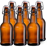 California Home Goods 16 Ounce Grolsch Bottles with EZ Caps for Beer, Fermenting Kombucha, Home Brewing, Kefir, Resealable and Reusable, Flip Top Caps, Amber (Set of 6)