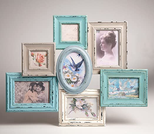 blue and cream collage multi frame x 7 frames - Multi Frame Picture