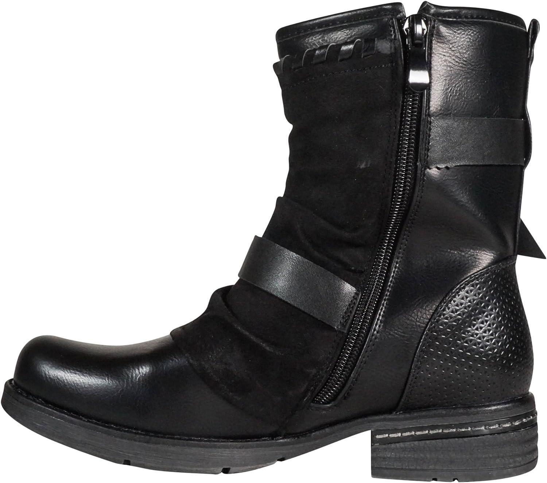 Damen Stiefeletten Boots Stiefel Biker Outdoor Worker gefüttert neu ST101