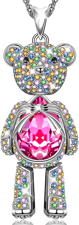 Susan Y Regalo para Mamá, Oso de Peluche Collar Mujer Joyería con Cristales Swarovski, Joyería para Ella, Hipoalergénicas