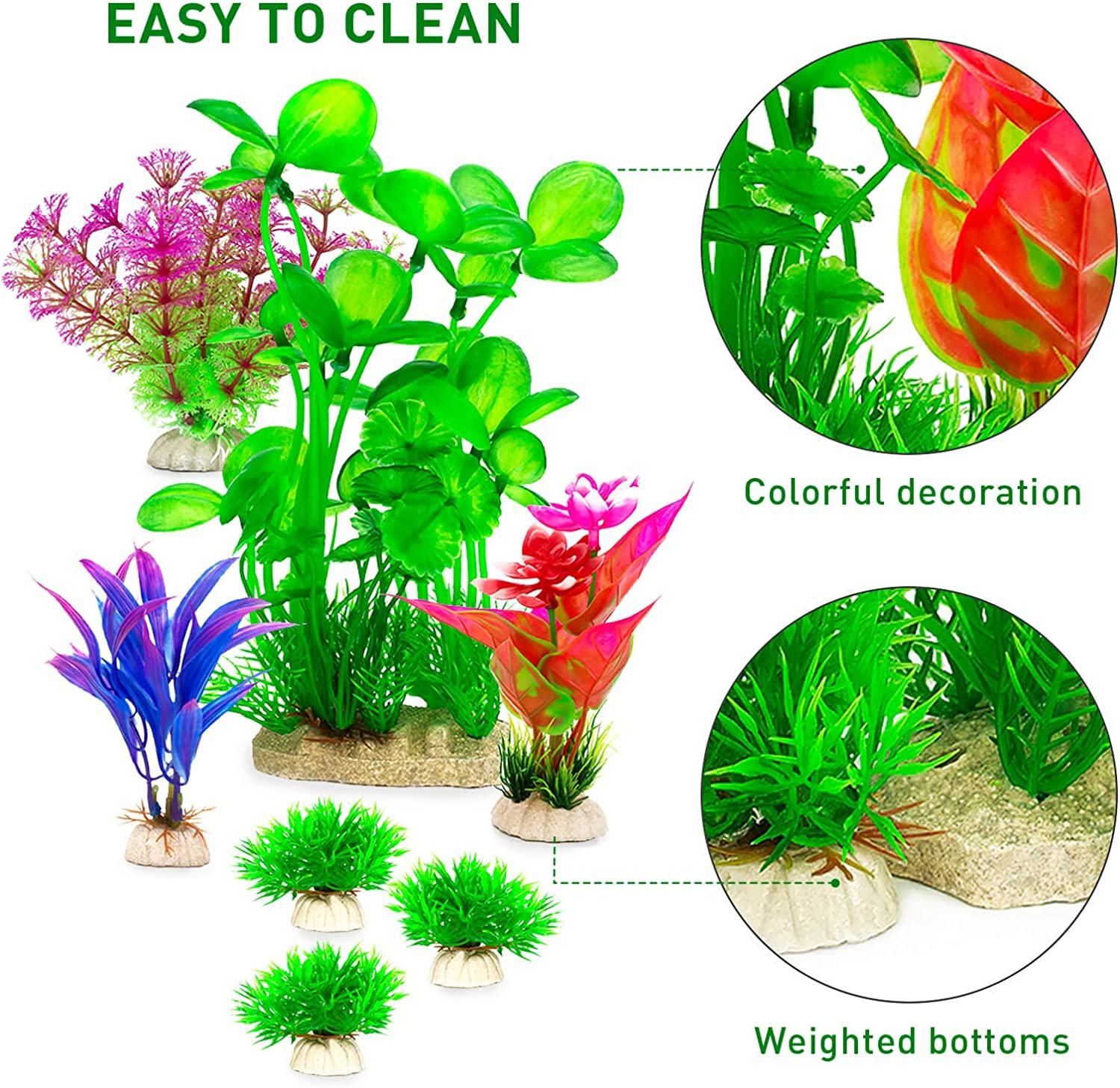 LUYINN 7PCS Fish Tank Decorations Aquarium Plants for Aquarium Decorations Fish Tank Decorations Suitable for Home and Office Fish Tank Accessories Artificial Fish Tank Plants