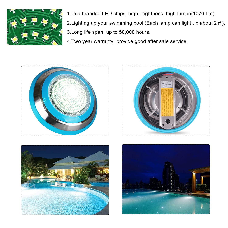 sweetlife Submersible Led Light,Led Swimming Pool Light Wall-Mounted Underwater Led Light