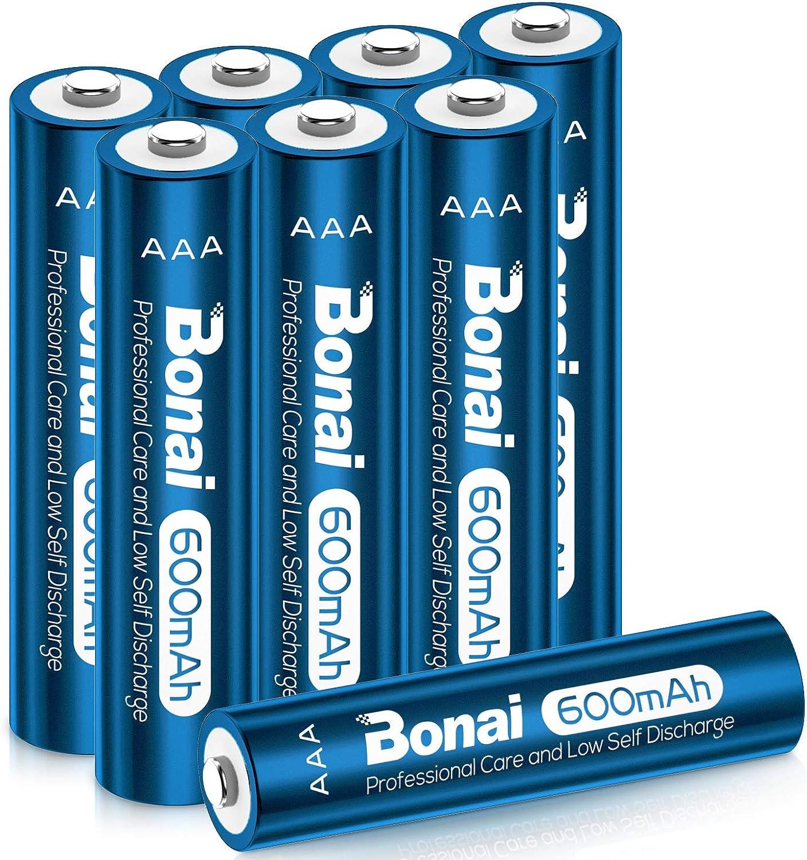 BONAI Pilas AAA Recargables 8 Piezas 600mAh 1.2V NI-MH 2000 Ciclos Precargadas Pilas Recargables AAA para Reemplazo de Baterías de Luces Solares