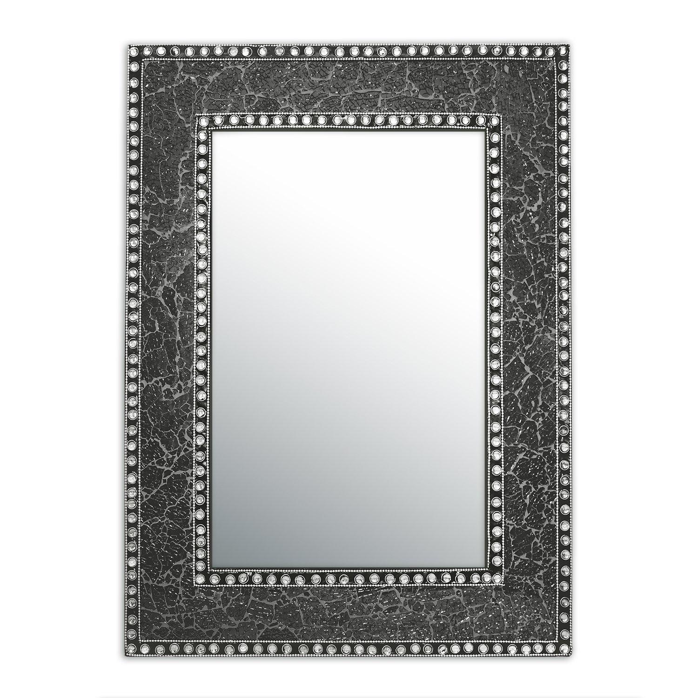 DecorShore 24'' x 18'' Crackled Glass Jewel Tone Mosaic Wall Mirror, Framed Rectangular Decorative Vanity Mirror, Accent Mirror, Gemstone Look (Black Onyx)