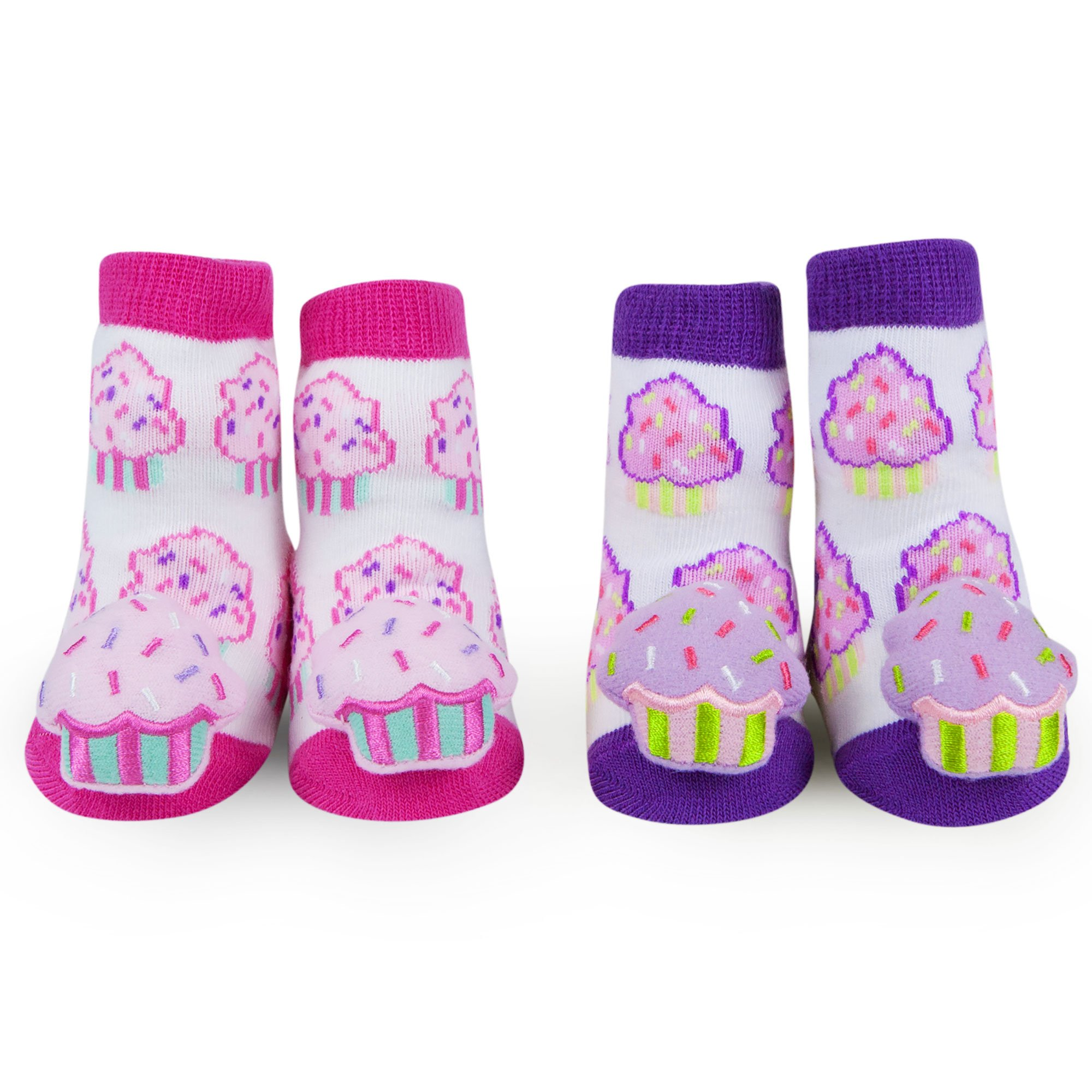 Waddle Baby Rattle Sprinkle Cupcake Newborn Socks for Girls Pink Purple (2 Pair)