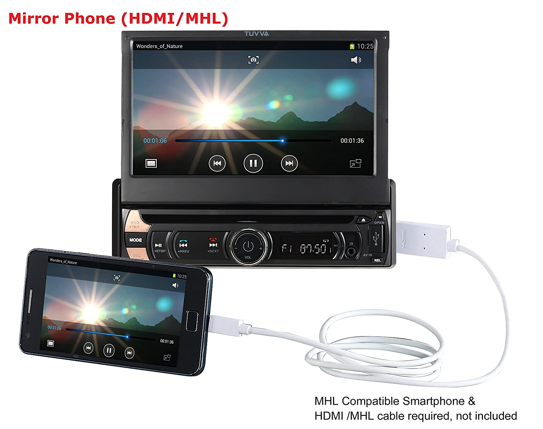 Tuvva Ksd7813 1 Din Autoradio Multimedia Avec Mhl Smartphone  # Meuble Informatique Avec Ecran Retractable Electrique