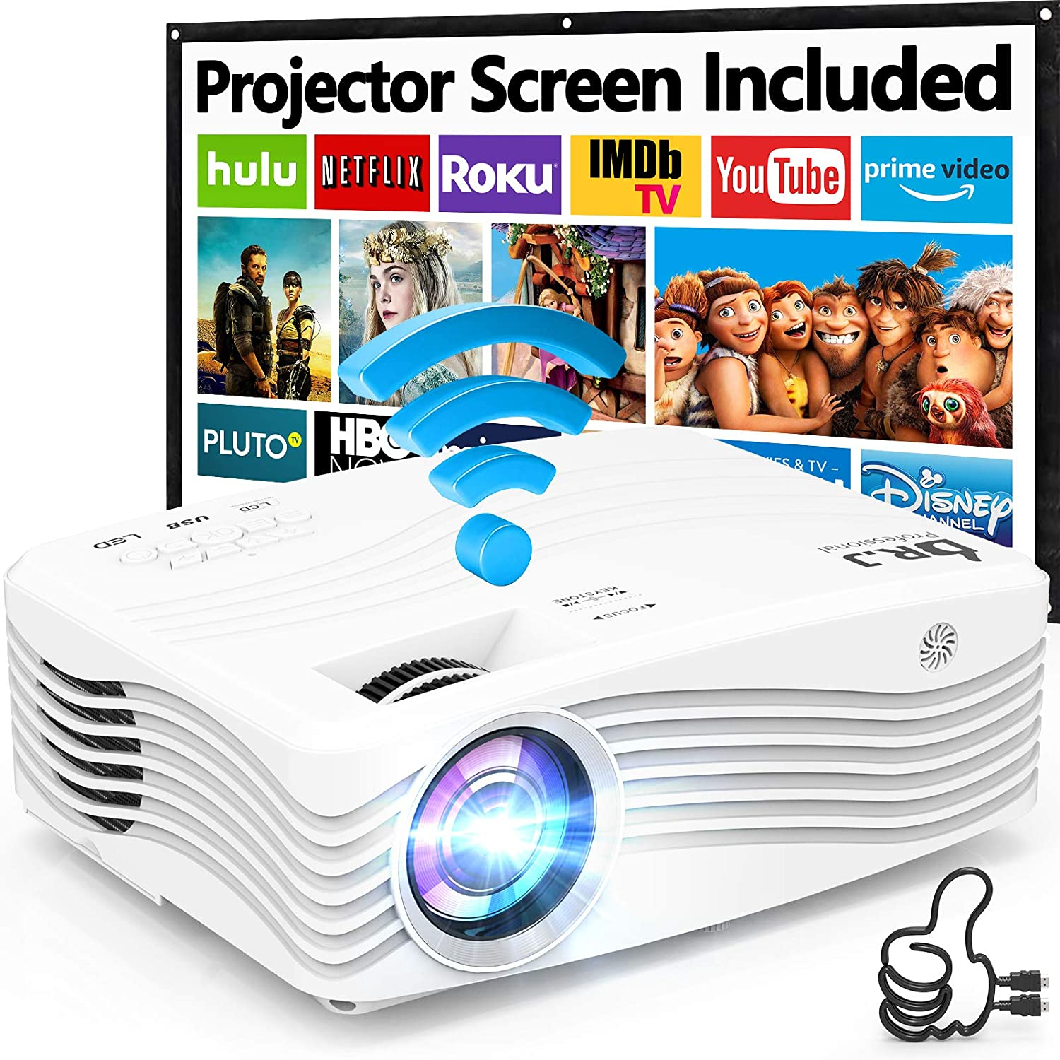 7500Lumens Upgraded Native 1080P Projector, Full HD WiFi Projector Synchronize Smartphone Screen, Compatible with TV Stick/HDMI/PS4/DVD Player/AV for Outdoor Movies [Packed with 120