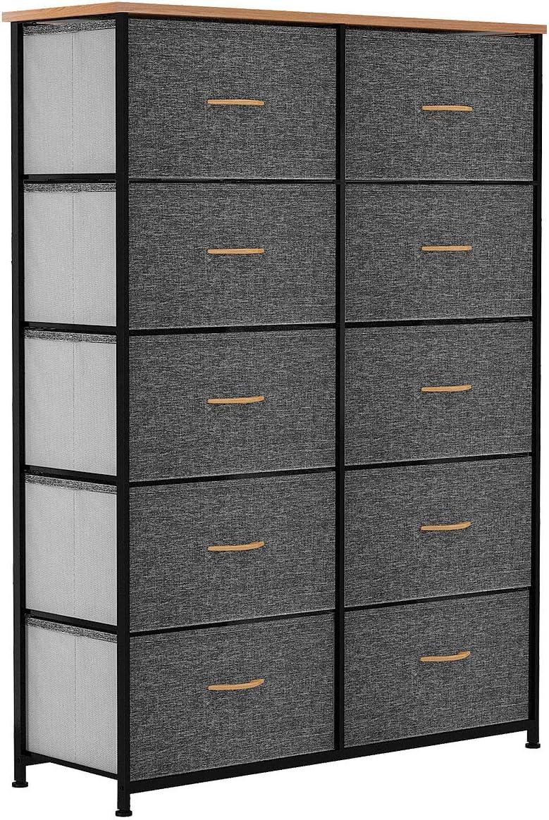 YITAHOME 10 Drawer Dresser - Fabric Storage Tower, Organizer Unit for Bedroom, Living Room, Hallway, Closets & Nursery - Sturdy Steel Frame, Wooden Top & Easy Pull Fabric Bins (Dark Gray): Home Improvement