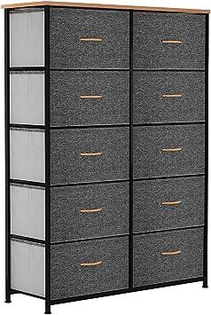 Amazon.com: YITAHOME 10 Drawer Dresser - Fabric Storage Tower, Organizer Unit For Bedroom, Living Room, Hallway, Closets & Nursery - Sturdy Steel Frame, Wooden Top & Easy Pull Fabric Bins (Dark Gray) :