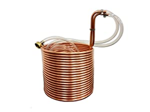 "COLDBREAK 50' Wort Chiller, 3/8"", 100% Pure USA Copper, 4' Vinyl Tubing, Heavy-Duty Garden Hose Fitting"
