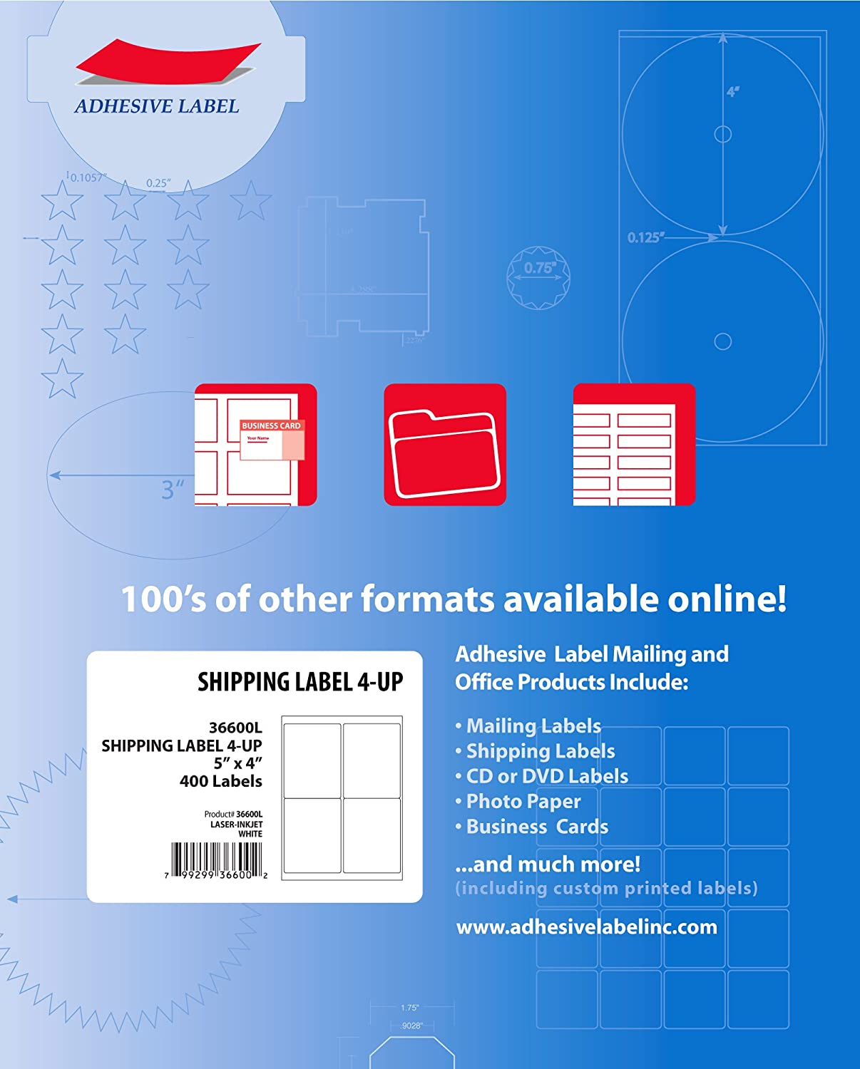 Ace Label Shipping Labels for Laser and Inkjet Printer, 4x5-Inch, Pressure-Sensitive Labels, 100 Sheets, 4 per Sheet, White (36600L)