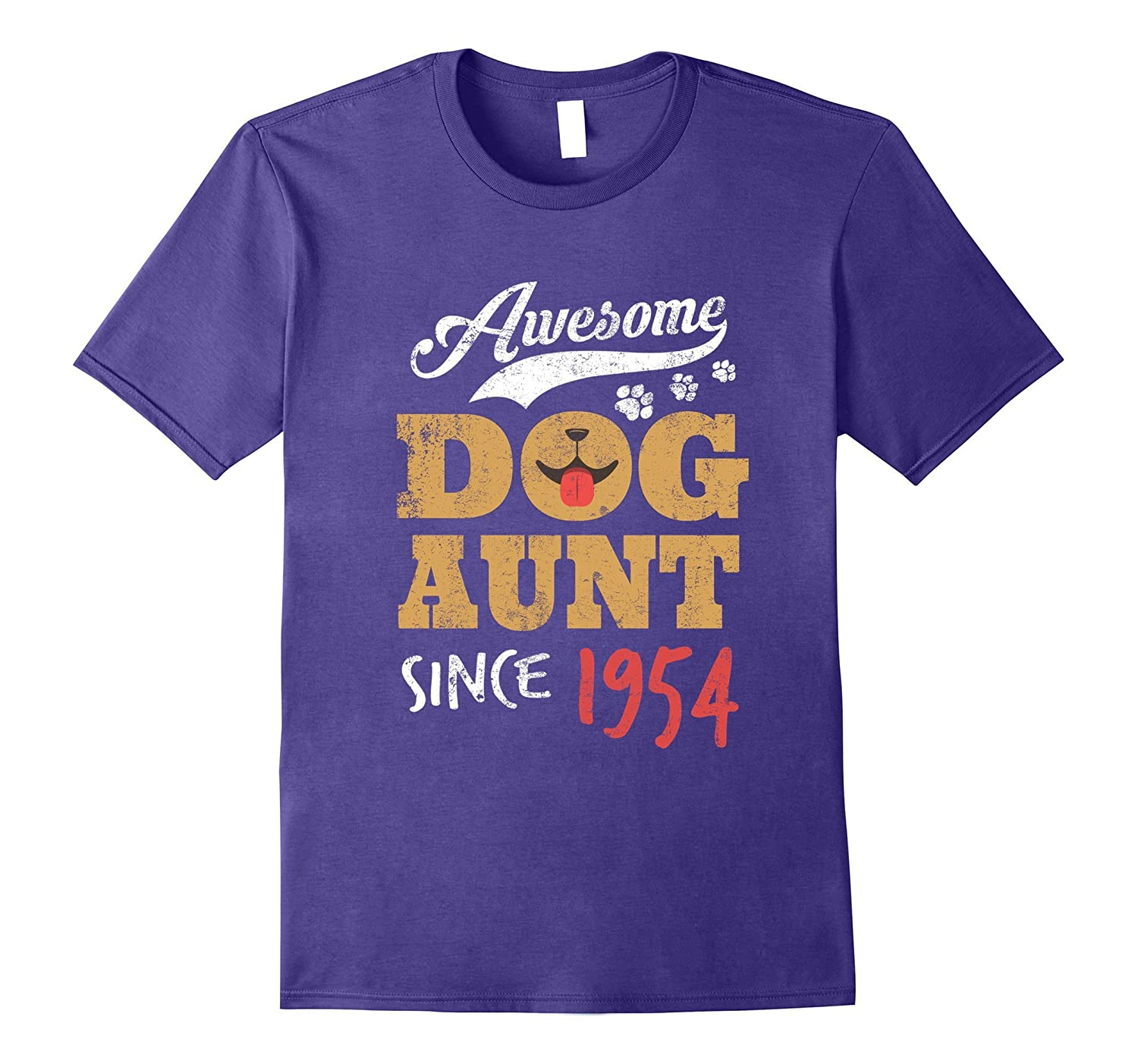 Awesome Dog Aunt Since 1954 Funny 63rd Birthday T-Shirt-PL