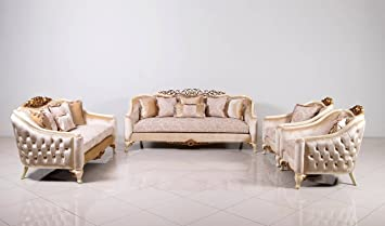 Amazon Com European Furniture 3 Pieces Angelica Luxury Sofa Set Furniture Decor