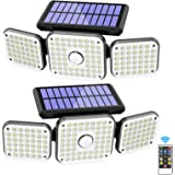 Solar Lights Outdoor, 132 LED 1500LM Solar Security Flood Lights with Remote Control, Wireless Motion Sensor Lights 3 Heads 2