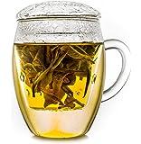 Creano tasse de thé ''tout en un'', grande tasse de thé avec tamis et couvercle en verre, 400ml