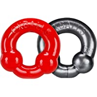 OxBalls 2 Pack Cockring, Steel/Red