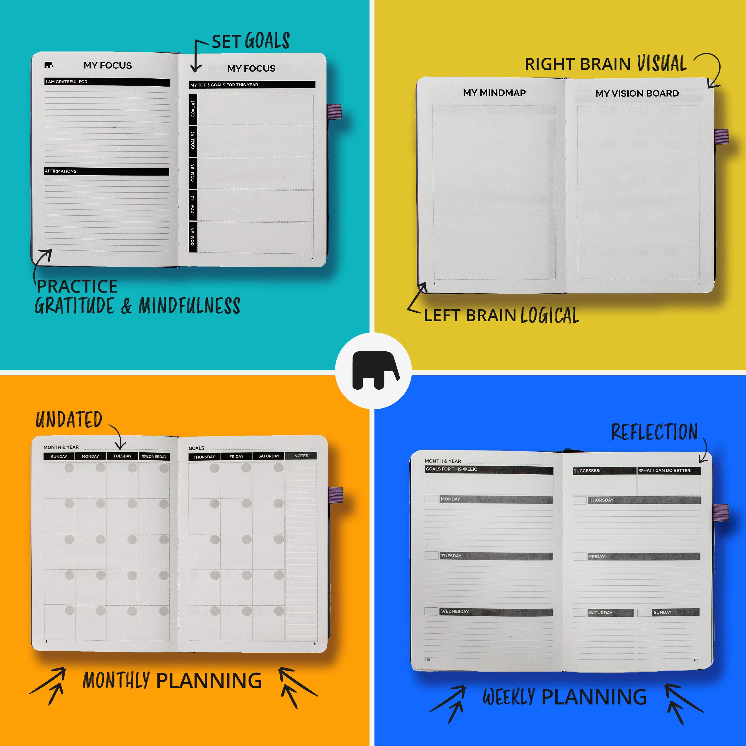 Monthly Agenda Simple Elephant Planner 2020 Undated Daily Blue Weekly