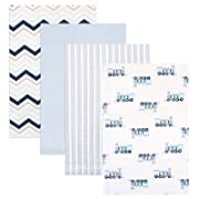 Luvable Friends 4 Piece Flannel Receiving Blankets, Train