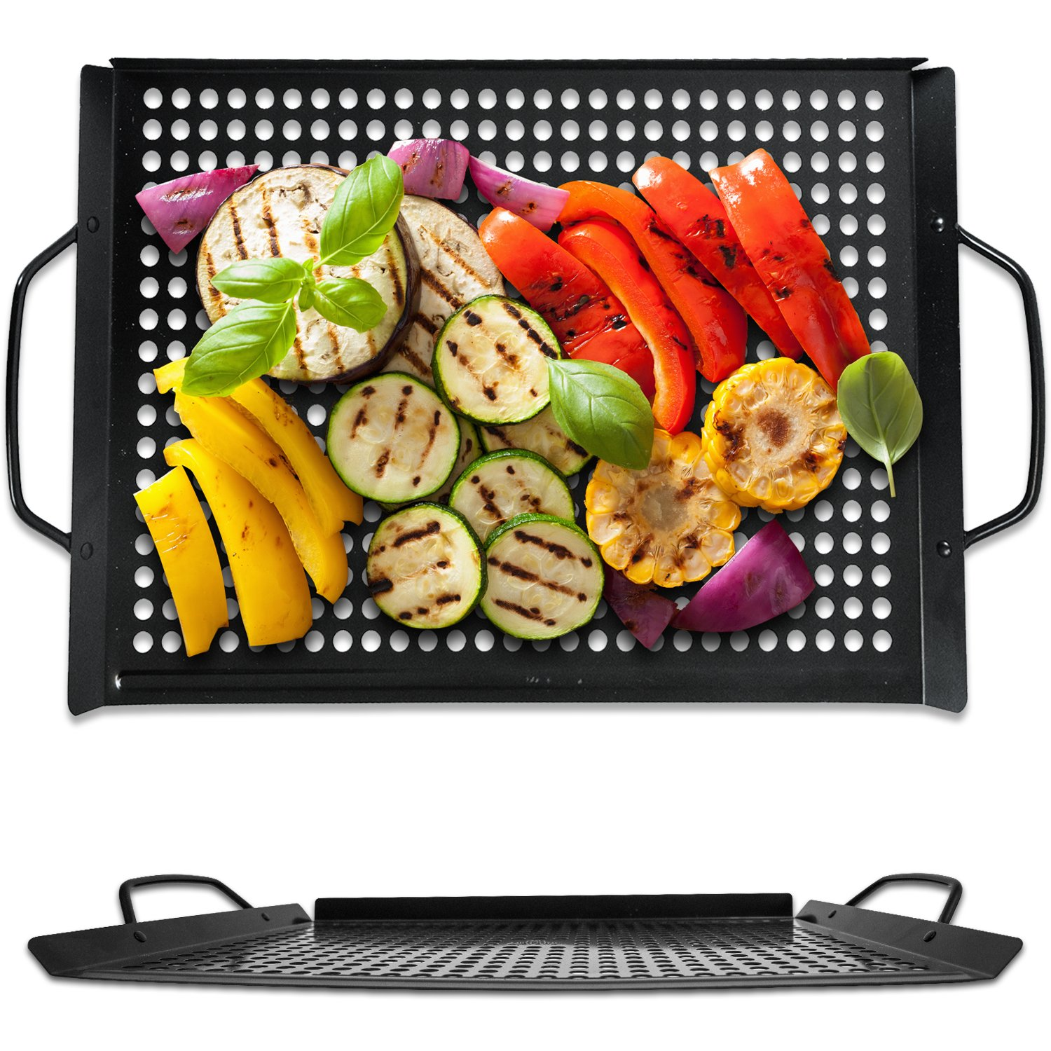 Corona BBQ Grill Accessories Set - Extra Large 11 x 16 Inch BBQ Grilling Pan as a NonStick Grill Basket for Outdoor/ Indoor or Charcoal Grill Tools