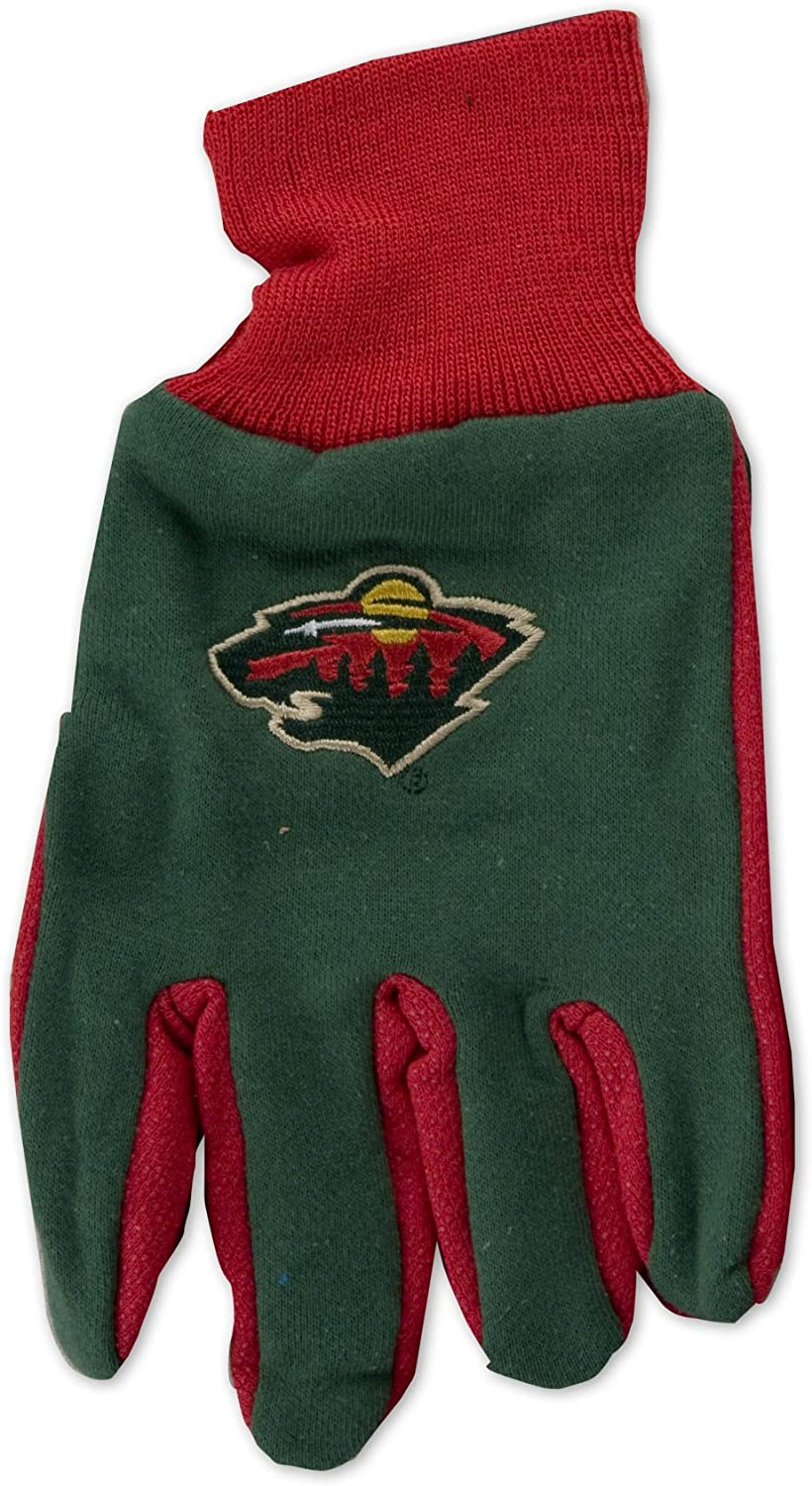 NHL Minnesota Wild Two-Tone Gloves, Green/Red : Sports Fan Apparel : Clothing