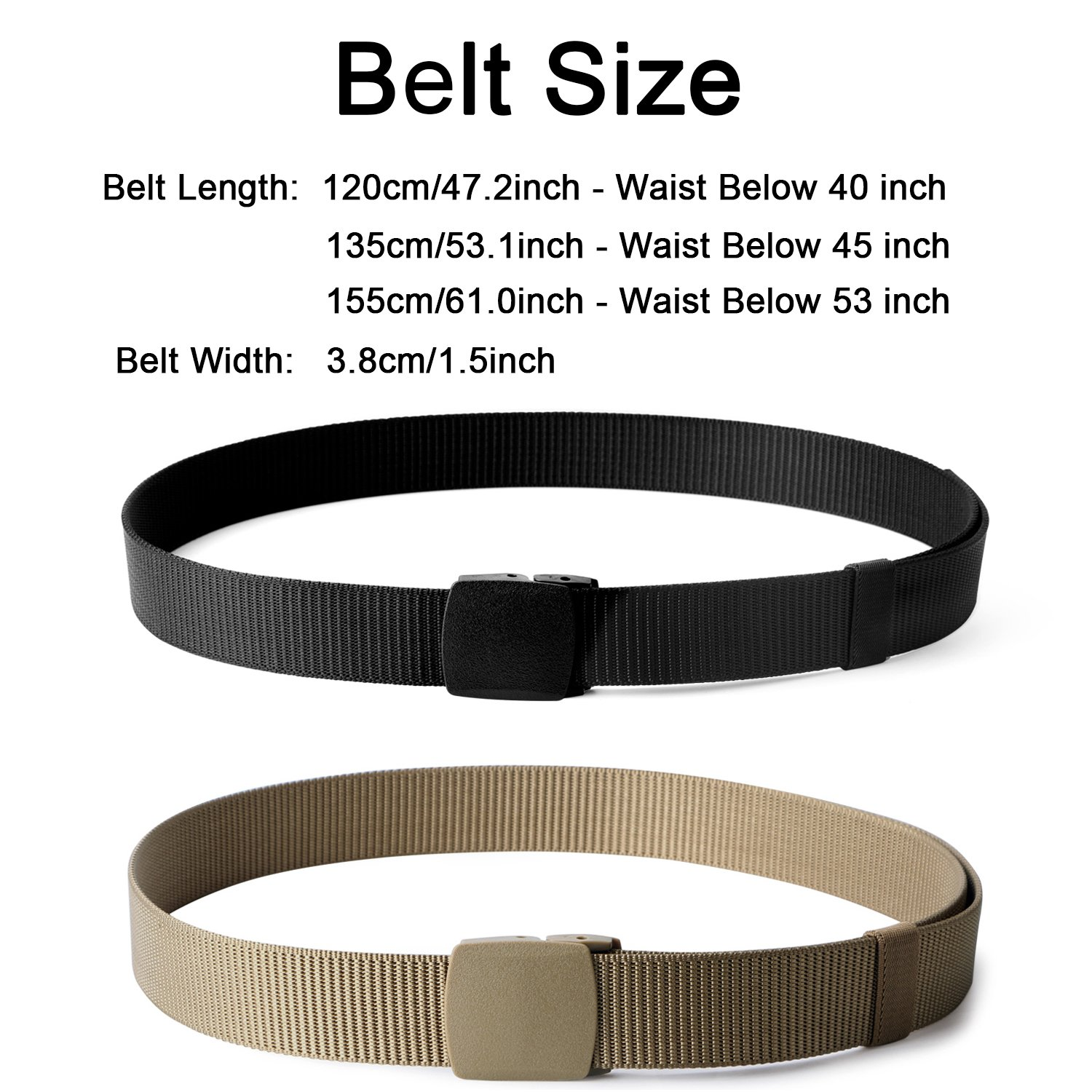 Nylon Military Tactical Belt 2 Pack Webbing Canvas Outdoor Web Belt With Plastic Buckle by JASGOOD (Image #6)