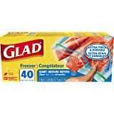 Glad Zipper Freezer Storage Plastic Bags - Quart - 40 Count (Package May Vary)
