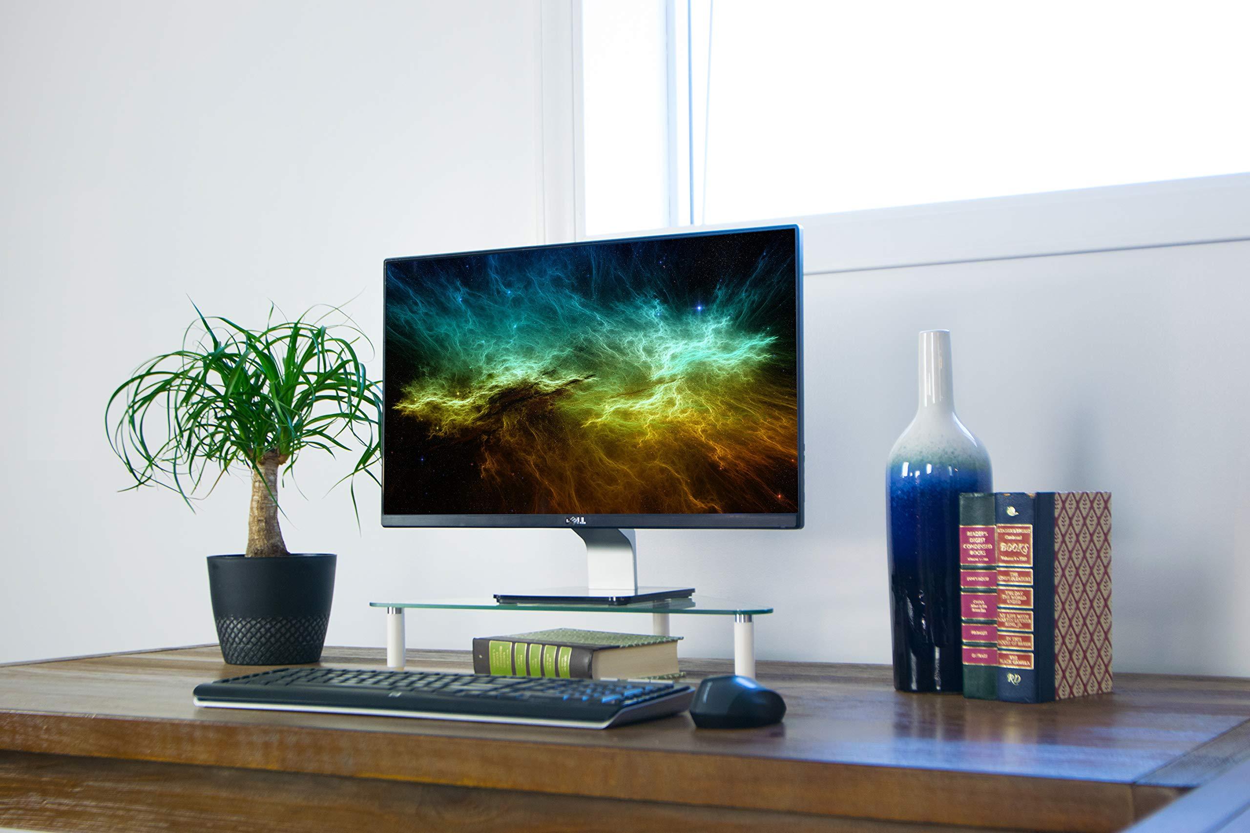 VIVO Glass Ergonomic Tabletop Riser | Triangle Desktop Universal Corner Stand for Computer Monitor & Laptop (STAND-V000Q) by VIVO (Image #4)