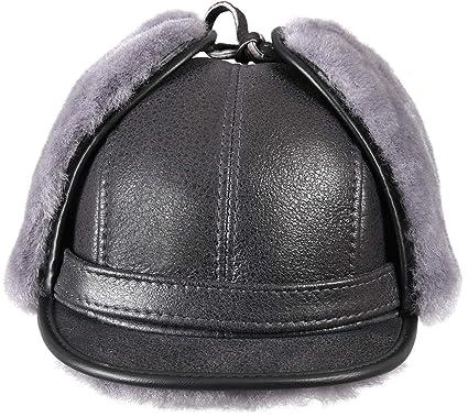 3aef664351a Zavelio Men s Shearling Sheepskin Elmer Fudd Visor Hat Small Antrasit