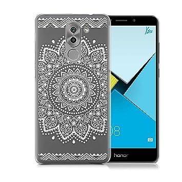 Funda Huawei Honor 6x ,Ordica ES, Carcasa Honor 6X Silicona Transparente Anti Golpes Estuche Resistente Accesorios Divertidas Con Dibujos Flower Negro