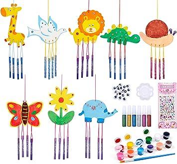 Carillones de Viento para jardín Kit de Manualidades para niños Carillones de Viento de Animales Carillones de Madera al Aire Libre Garden Sun Catchers para Que los niños decoren y exhiban: Amazon.es: