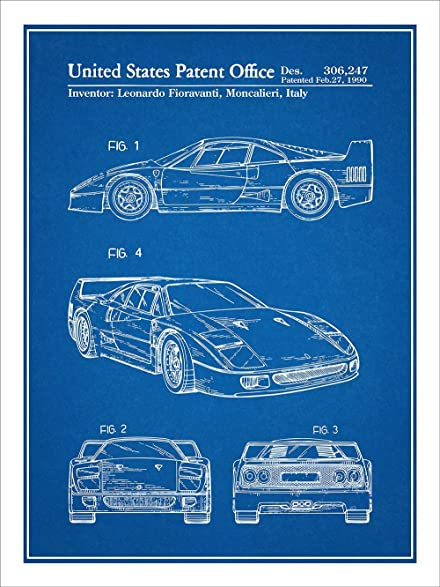 Amazon f40 ferrari automobile patent print art poster unframed f40 ferrari automobile patent print art poster unframed blueprint 18quot malvernweather Gallery