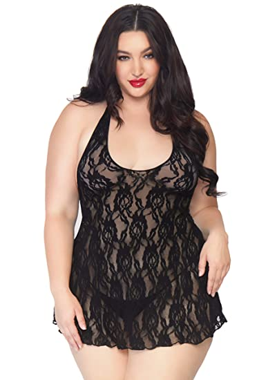 ab4bbe1598 Leg Avenue Sexy Plus Size Lace Chemise and Panty Lingerie Set at Amazon  Women s Clothing store  Adult Exotic Dresses