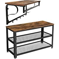VASAGLE Shoe Bench with Coat Rack Shelf Bundle, Wall-Mounted, Hallway Entryway Furniture Set, Robust Steel Frame, Easy Assembly, Industrial Design, Rustic Brown and Black ULBS73X and ULCR11BX