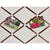 """Breeze Point Fabric Message and Memo Bulletin Board with Ribbons, 15.75"""" x 11.75"""", Off-White/Maroon"""