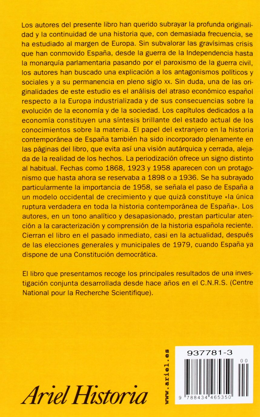 Historia de la España contemporánea, desde 1808 hasta nuestros días Ariel Historia: Amazon.es: Broder, A., Chastagnaret, G., Temime, E.: Libros