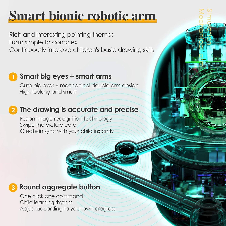 PaNt Drawing Robot Certificaci/ón CE dibujo autom/ático inteligente robot para Pintura//Matem/áticas//Ortograf/ía,Juguete educativo robot inteligente Incluye 4 libros 64 tarjetas Regalo /único para ni/ños