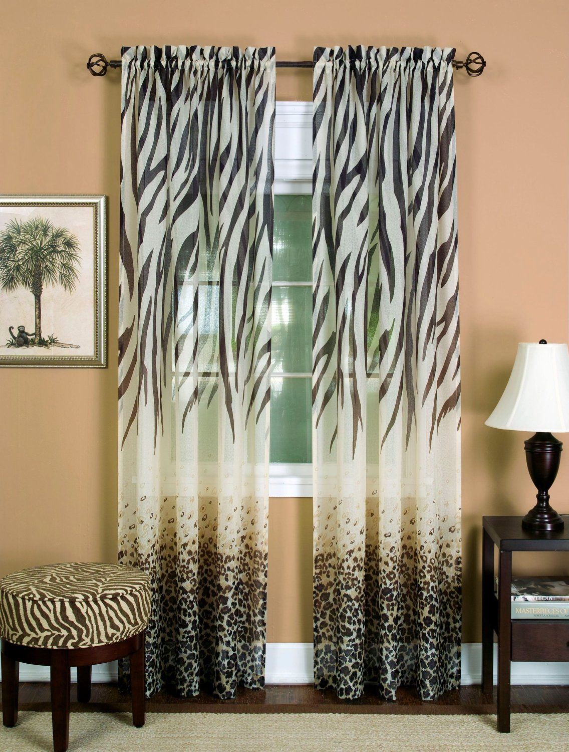 Safari Elegance Zebra/Leopard Animal Print Window Curtain Panel - Set of 2 - Brown/White - (50 x 84-Inch)