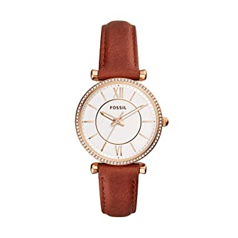Fossil Womens Carlie Stainless Steel Quartz Leather Strap, Brown, 15.7 Casual Watch (Model